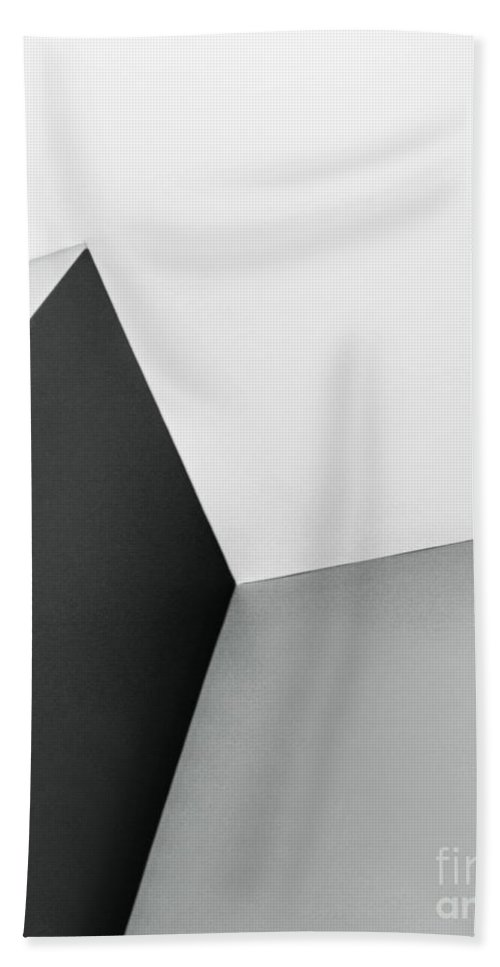 Abstract; Walls; Ceiling; Angles; Design; Pattern; Column; Row; Point; Dark; Light; Black; White; Monochrome Beach Towel featuring the photograph Nothing Is There by Margie Hurwich