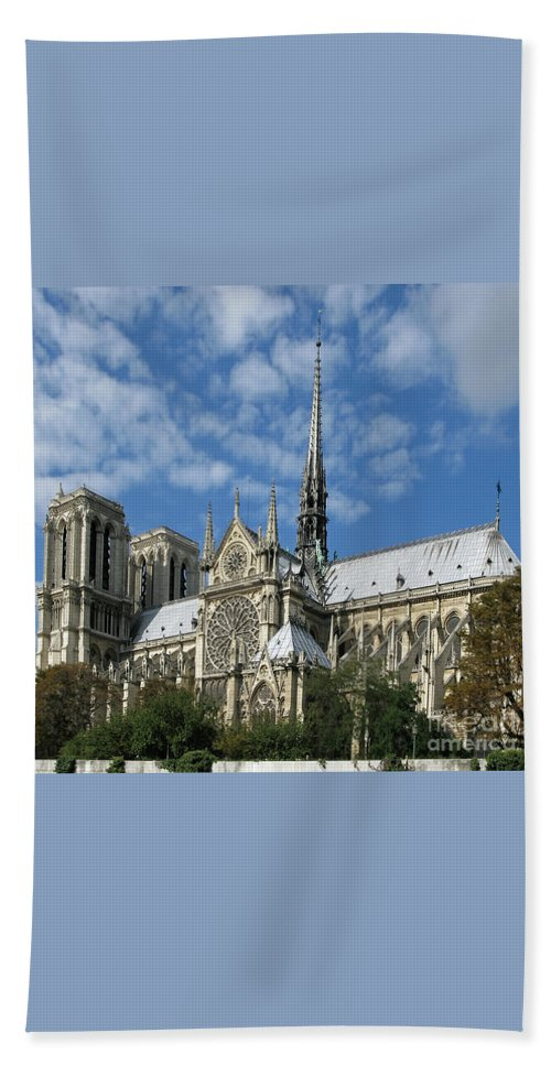 Notre Dame Beach Towel featuring the photograph Notre Dame Cathedral by Ann Horn