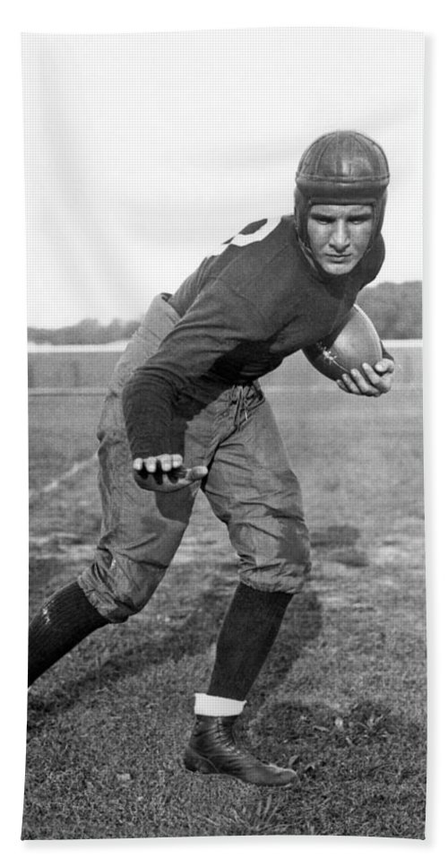 1934 Beach Towel featuring the photograph Notre Dame Star Halfback by Underwood Archives