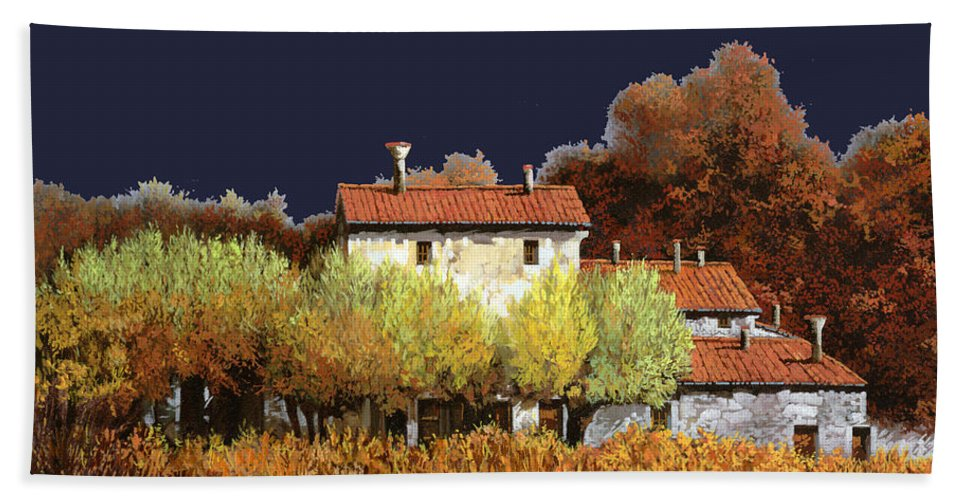 Vineyard Beach Towel featuring the painting Notte In Campagna by Guido Borelli