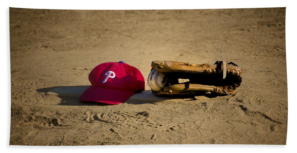 Now Beach Towel featuring the photograph Now Pitching For The Phillies by Bill Cannon