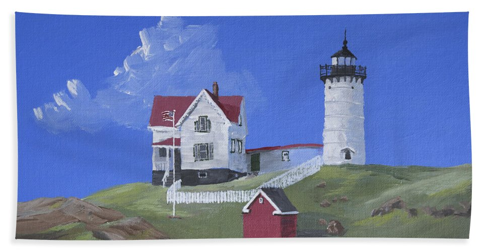 Nubble Beach Towel featuring the painting Nubble Lighthouse by Jerry McElroy
