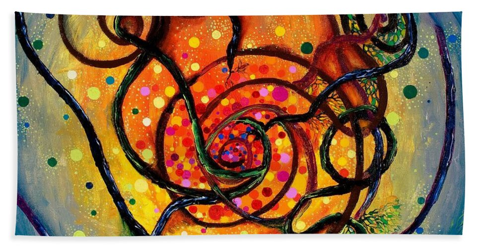 Bare Mass Beach Towel featuring the painting Nuclear Fusion by Regina Valluzzi