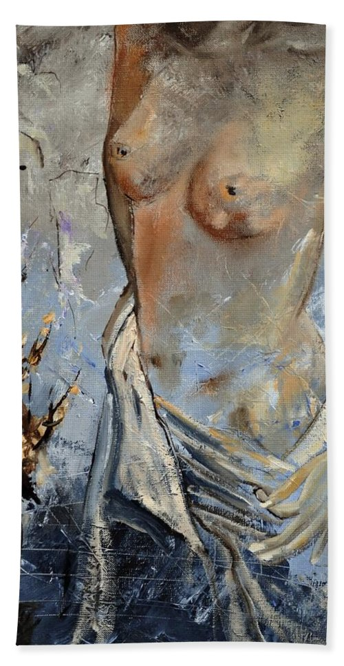 Nude Beach Towel featuring the painting Nude 454111 by Pol Ledent