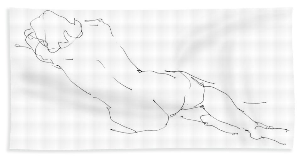 Female Beach Towel featuring the drawing Nude Female Drawings 9 by Gordon Punt