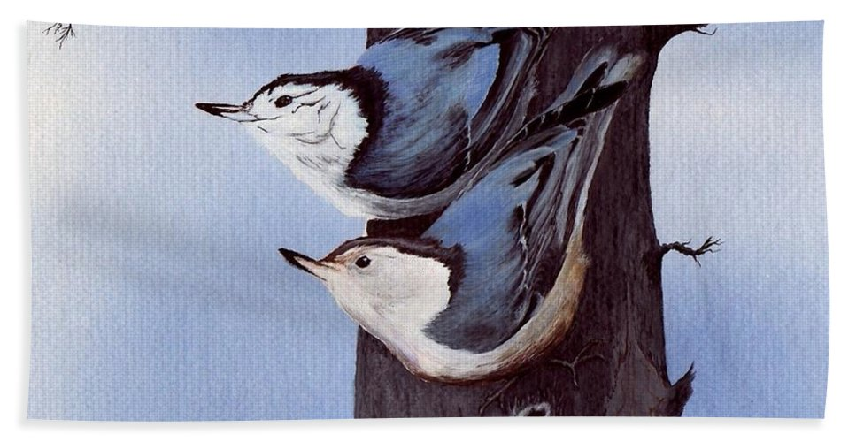 Bird White-breasted Nuthatch Beach Towel featuring the painting Nuthatch Pair by Linda Francis