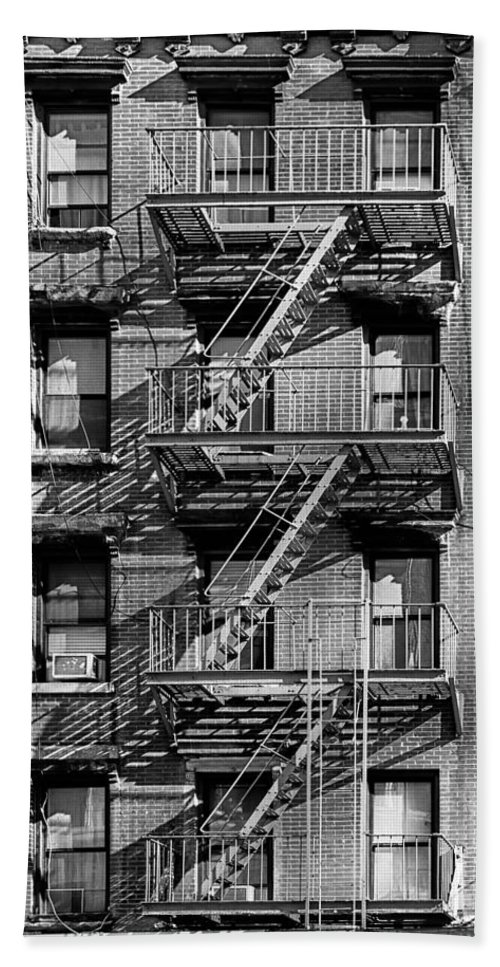 Fire Escape Beach Towel Featuring The Photograph Nyc Fire Escape   Stairs  And Shadows In Black