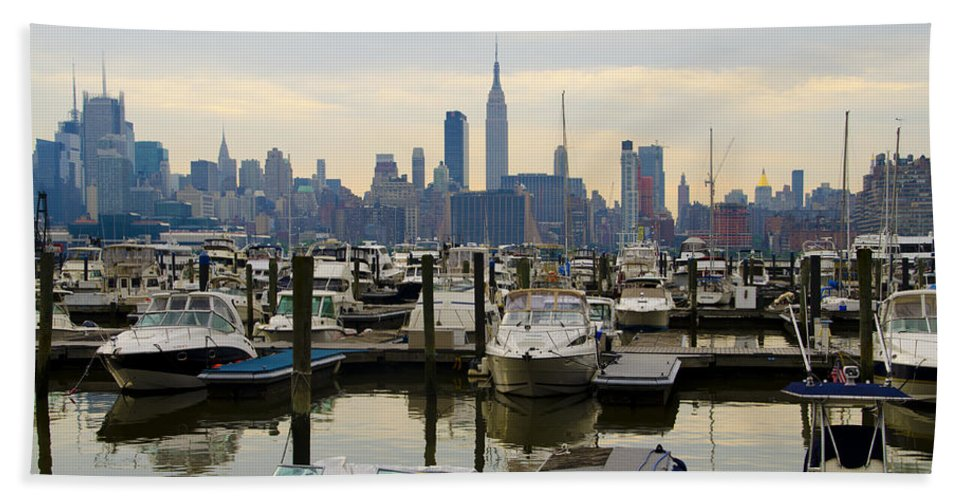 Nyc Beach Towel featuring the photograph Nyc View From Lincoln Harbor Weehawkin Nj by Bill Cannon