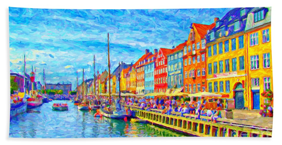 Nyhavn Beach Towel featuring the painting Nyhavn In Denmark Painting by Antony McAulay