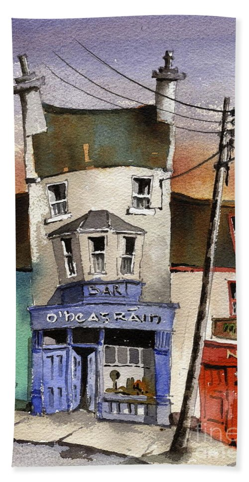 Val Byrne Beach Towel featuring the painting O Heagrain Pub, Viewed 21,339 Times by Val Byrne