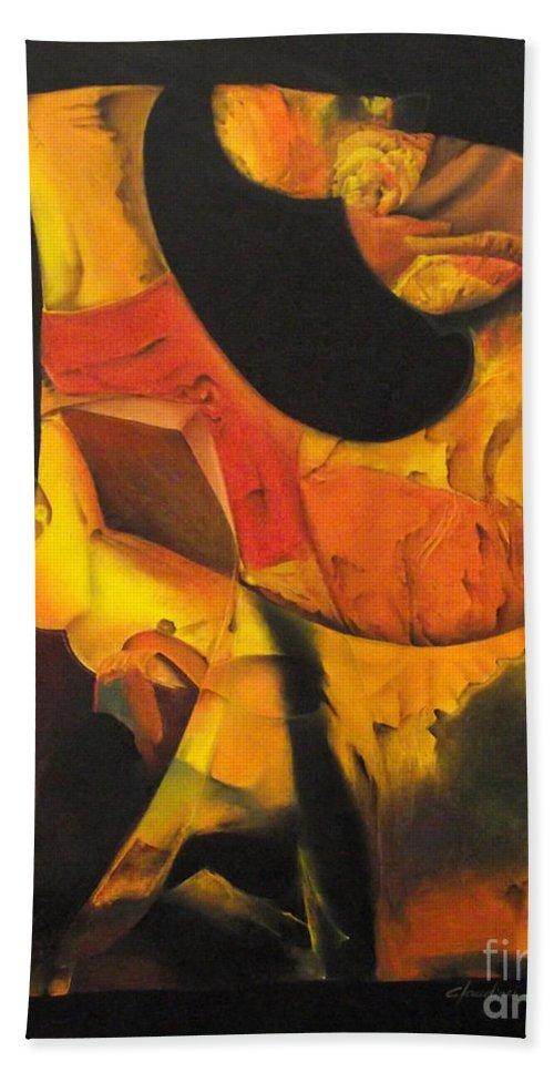 Mistico Beach Towel featuring the painting O Iluminado by J C Moreira