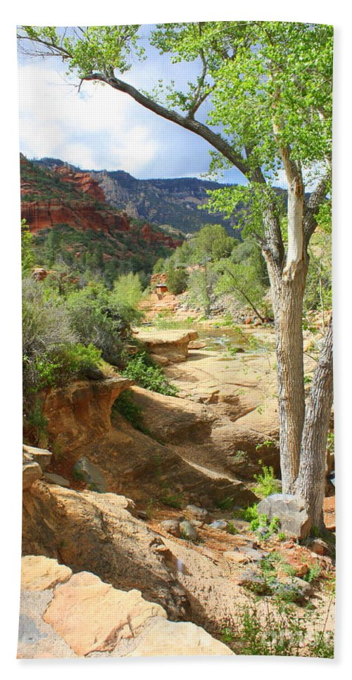 Landscapes Beach Towel featuring the photograph Over Slide Rock by Carol Groenen