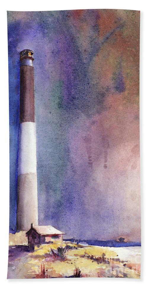 American Watercolor Society Beach Towel featuring the painting Oak Island Lighthouse by Ryan Fox