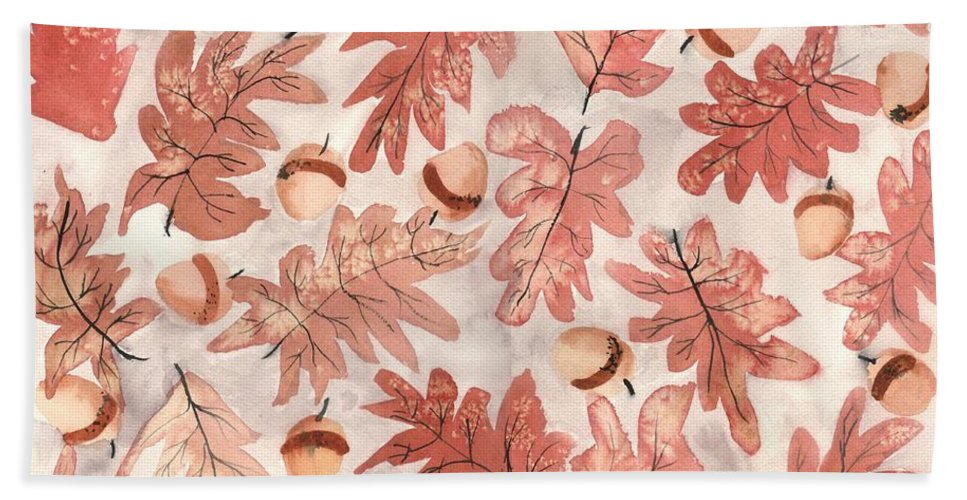 Monochrome Beach Towel featuring the painting Oak Leaves And Acorns by Neela Pushparaj