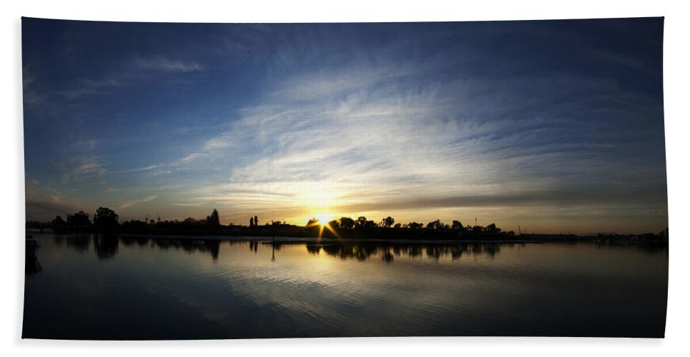 Water Beach Towel featuring the photograph Oakland Coast Guard Island by Mike Herdering