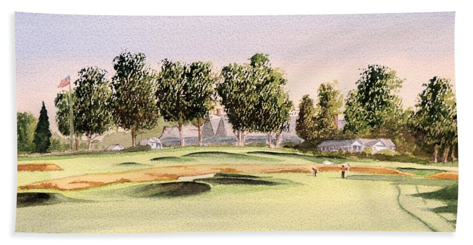 Oakmont Golf Course Beach Towel featuring the painting Oakmont Golf Course 14th by Bill Holkham