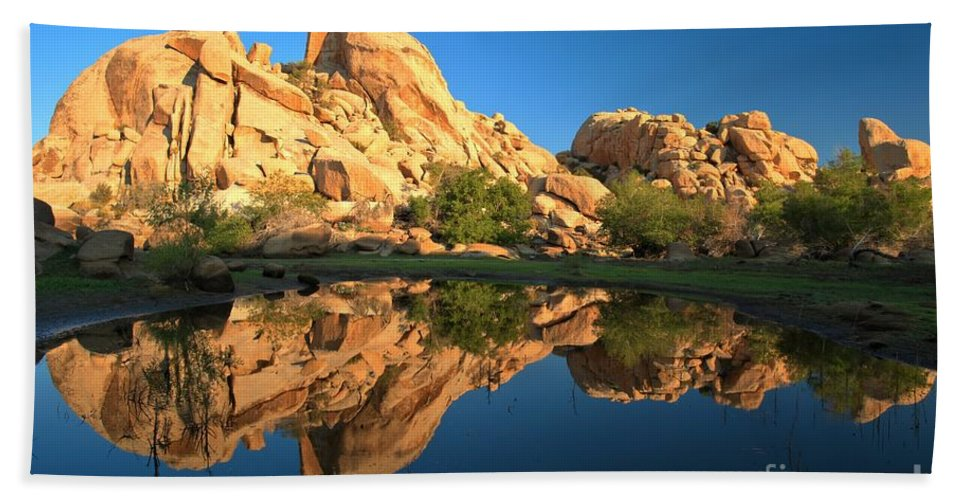 Barker Dam Beach Towel featuring the photograph Oasis Reflections by Adam Jewell