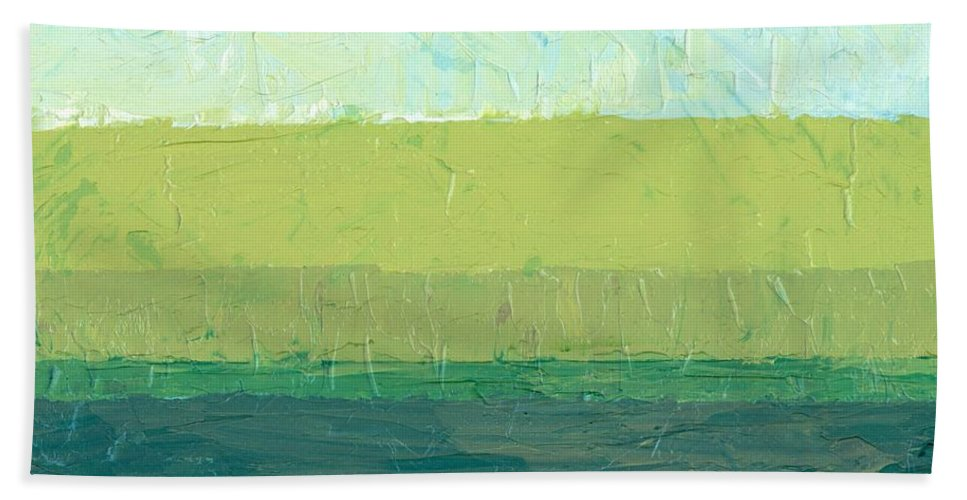 Abstract Beach Towel featuring the painting Ocean Blue And Green by Michelle Calkins