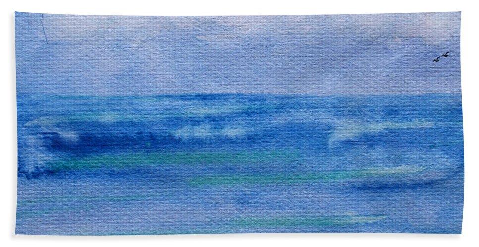 Nature Beach Towel featuring the painting Gentle Ocean Waves - Original Watercolor by Debbie Portwood