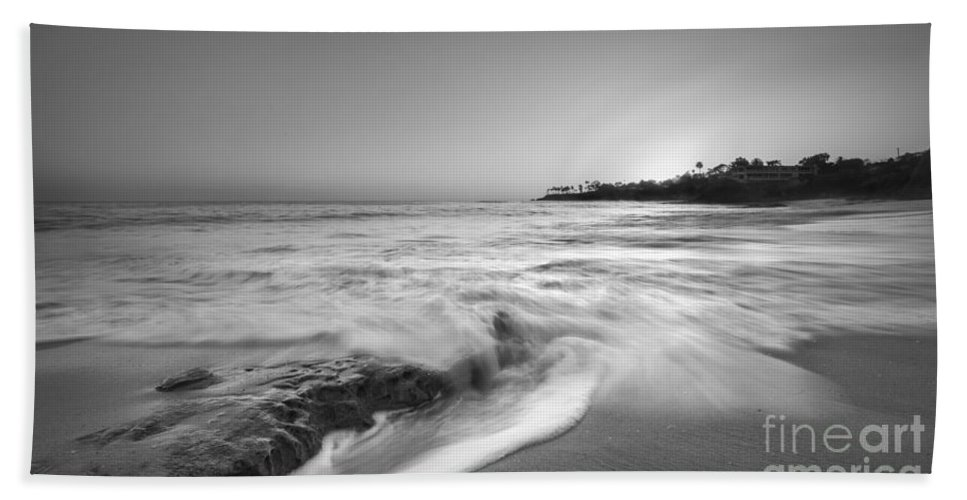 Crashing Waves Beach Towel featuring the photograph Ocean Glow Bw by Michael Ver Sprill