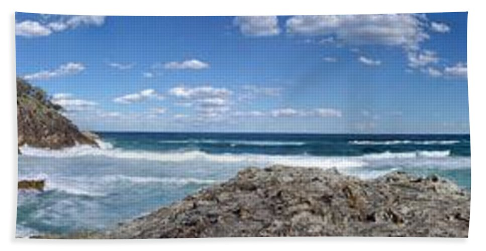 Landscape Beach Towel featuring the photograph Great Ocean Road Surf, Australia - Panorama by Ian Mcadie