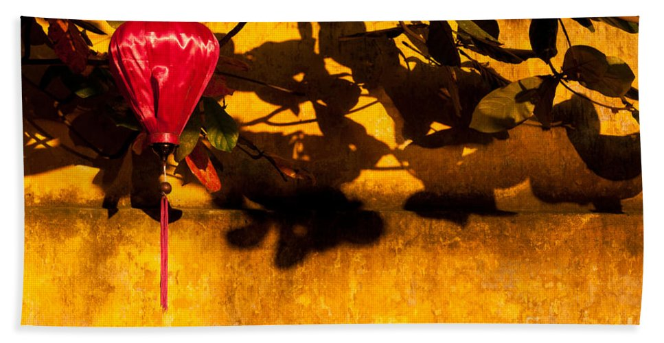 Vietnam Beach Towel featuring the photograph Ochre Wall Silk Lantern 02 by Rick Piper Photography