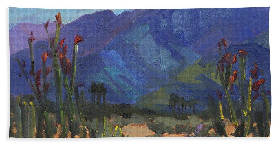 Ocotillos At Smoke Tree Ranch Beach Towel featuring the painting Ocotillos At Smoke Tree Ranch by Diane McClary