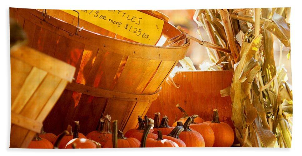 Pumpkin Patch Photograph Beach Towel featuring the photograph October Market by Jim Garrison