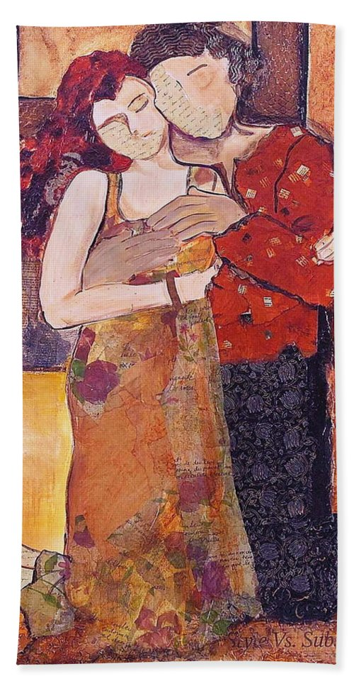 Man Beach Towel featuring the painting Ode To Klimt by Debi Starr