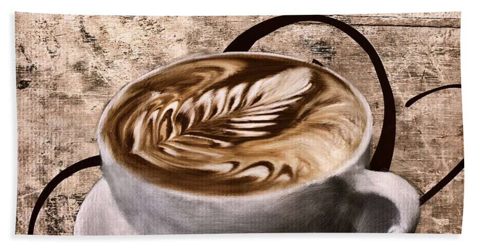 Coffee Beach Towel featuring the digital art Oh My Latte by Lourry Legarde