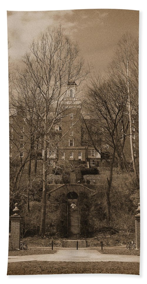 Ohio Beach Towel featuring the photograph Ohio University Bryan Hall Sepia by Karen Adams