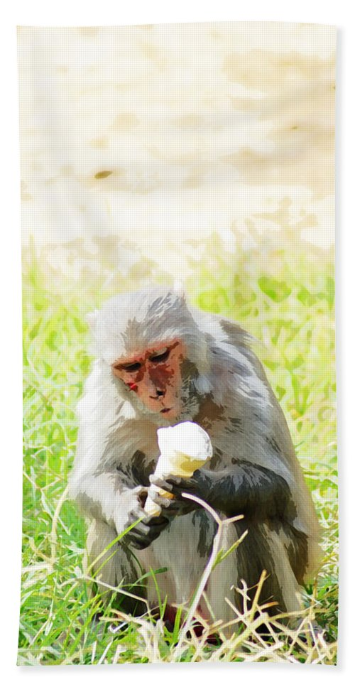 Monkey Beach Towel featuring the digital art Oil Painting - A Monkey Eating An Ice Cream by Ashish Agarwal