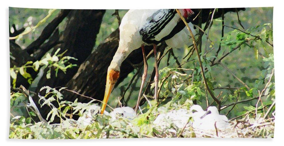 Delhi Beach Towel featuring the digital art Oil Painting - Mama Stork Feeding Young by Ashish Agarwal