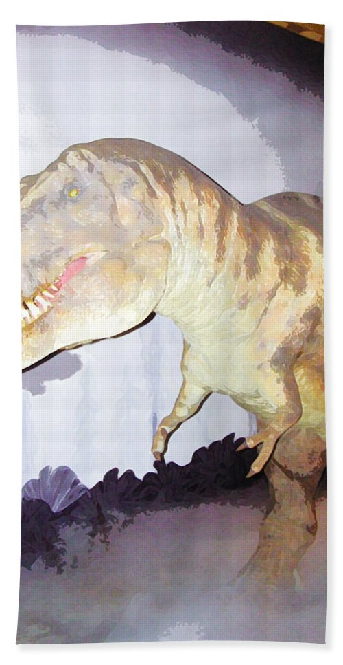 Animal Beach Towel featuring the digital art Oil Painting - Thankfully This T Rex Is A Dummy by Ashish Agarwal
