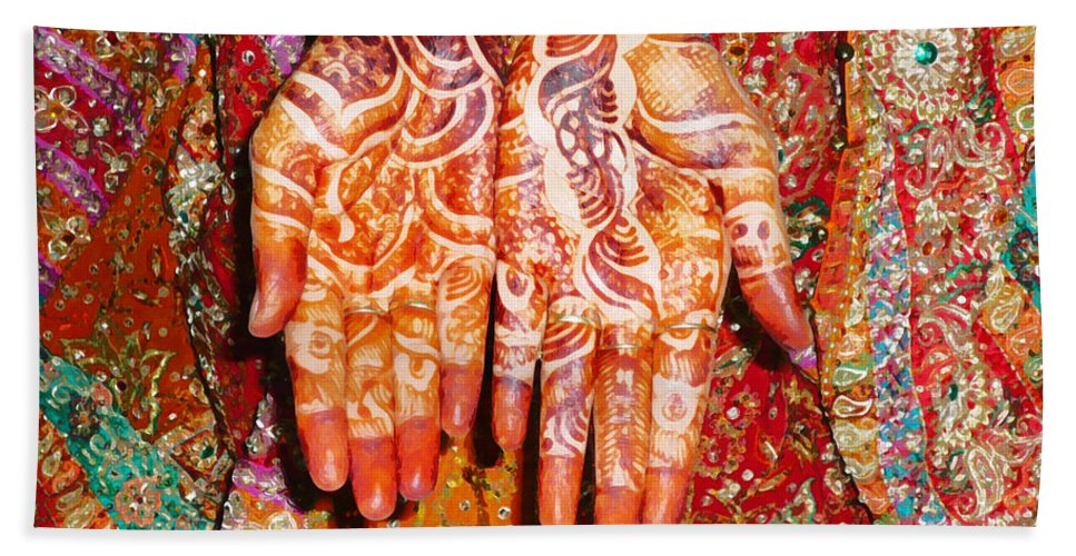 Clothes Beach Towel featuring the digital art Oil Painting - Wonderfully Decorated Hands Of A Bride by Ashish Agarwal