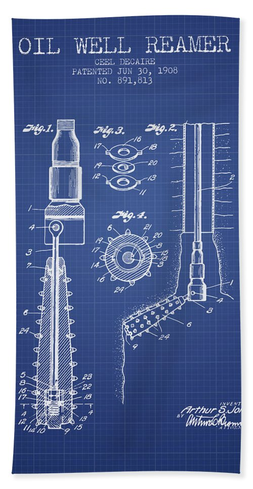 Oil Beach Towel featuring the digital art Oil Well Reamer Patent From 1924 - Blueprint by Aged Pixel