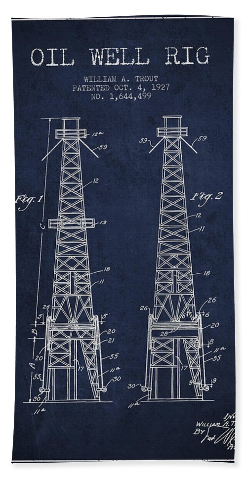 Oil Beach Towel featuring the digital art Oil Well Rig Patent From 1927 - Navy Blue by Aged Pixel