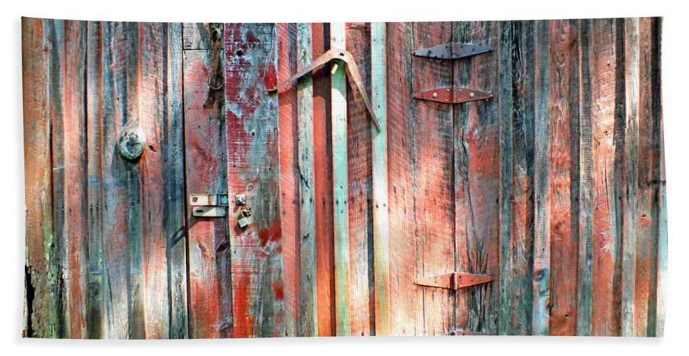 Duane Mccullough Beach Towel featuring the photograph Old Barn Door 2 by Duane McCullough