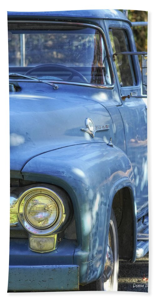 Ford Beach Towel featuring the photograph Old Blue by Donna Blackhall