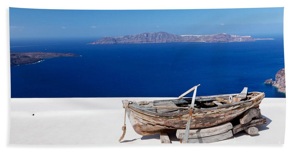 Santorini Beach Sheet featuring the photograph Old Boat On The Roof Of The Building On Santorini Greece by Michal Bednarek