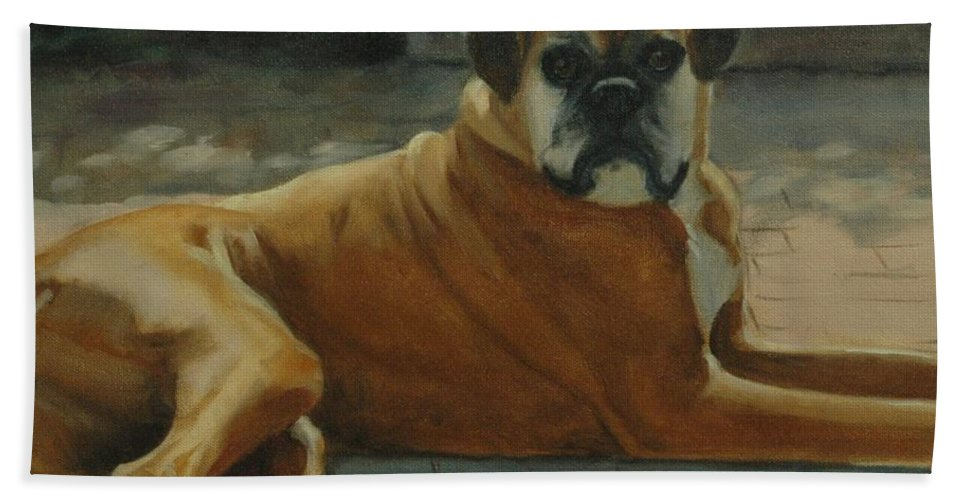 Dog Beach Towel featuring the painting Old Boxer by Pet Whimsy Portraits