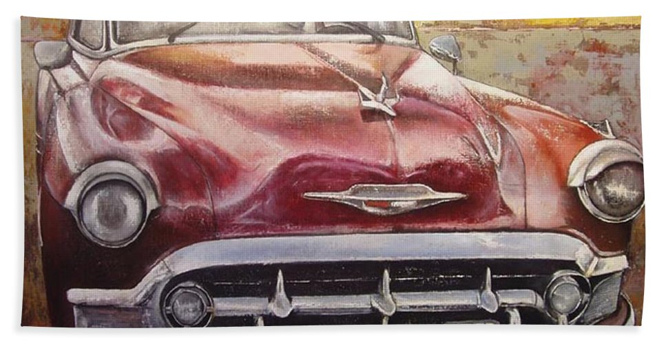 Havana Beach Towel featuring the painting Old Cadillac by Tomas Castano