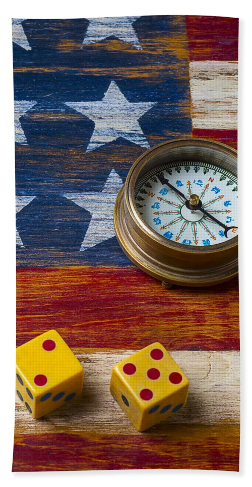 Wooden Beach Towel featuring the photograph Old Dice And Compass by Garry Gay