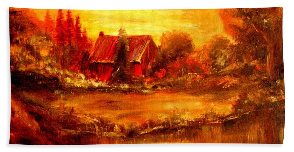Barn Beach Towel featuring the painting Old Dutch Farm by Jeff Troeltzsch