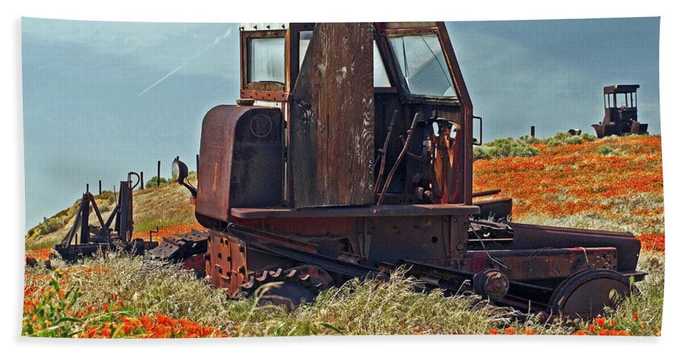 Tractor Beach Towel featuring the photograph Old Farm Equipment by Howard Stapleton
