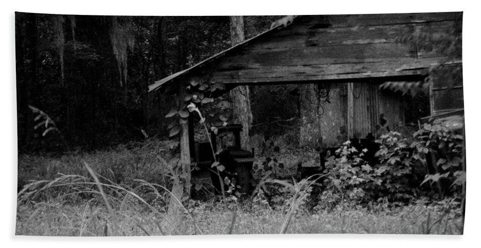 Old Beach Towel featuring the photograph Old Fishing Shed by Jon Cody