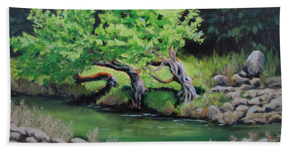Tree Beach Towel featuring the painting Old Friends by Karen Ilari