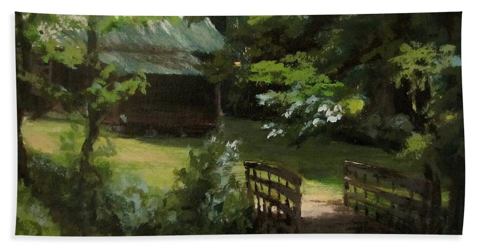 Farm Beach Towel featuring the painting Old Homestead by Karen Ilari
