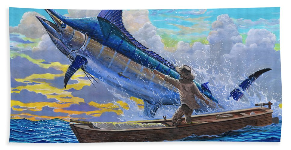 Marlin Beach Towel featuring the painting Old Man and the Sea Off00133 by Carey Chen