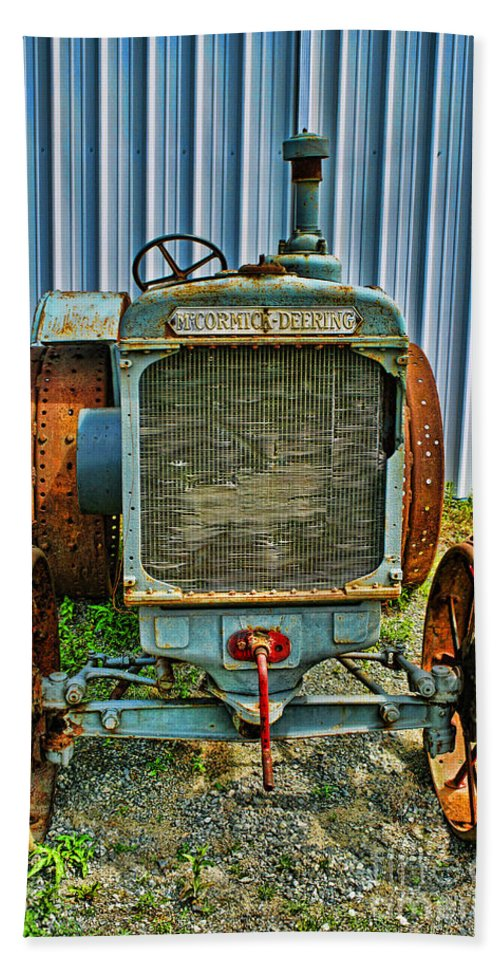 Tractors Beach Towel featuring the photograph Old Metal Wheeled Tractor Hdr by Randy Harris